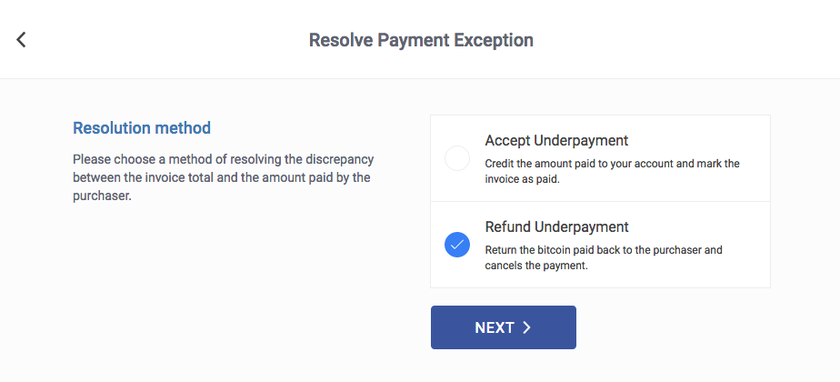 how do i refund an underpaid invoice bitpay support